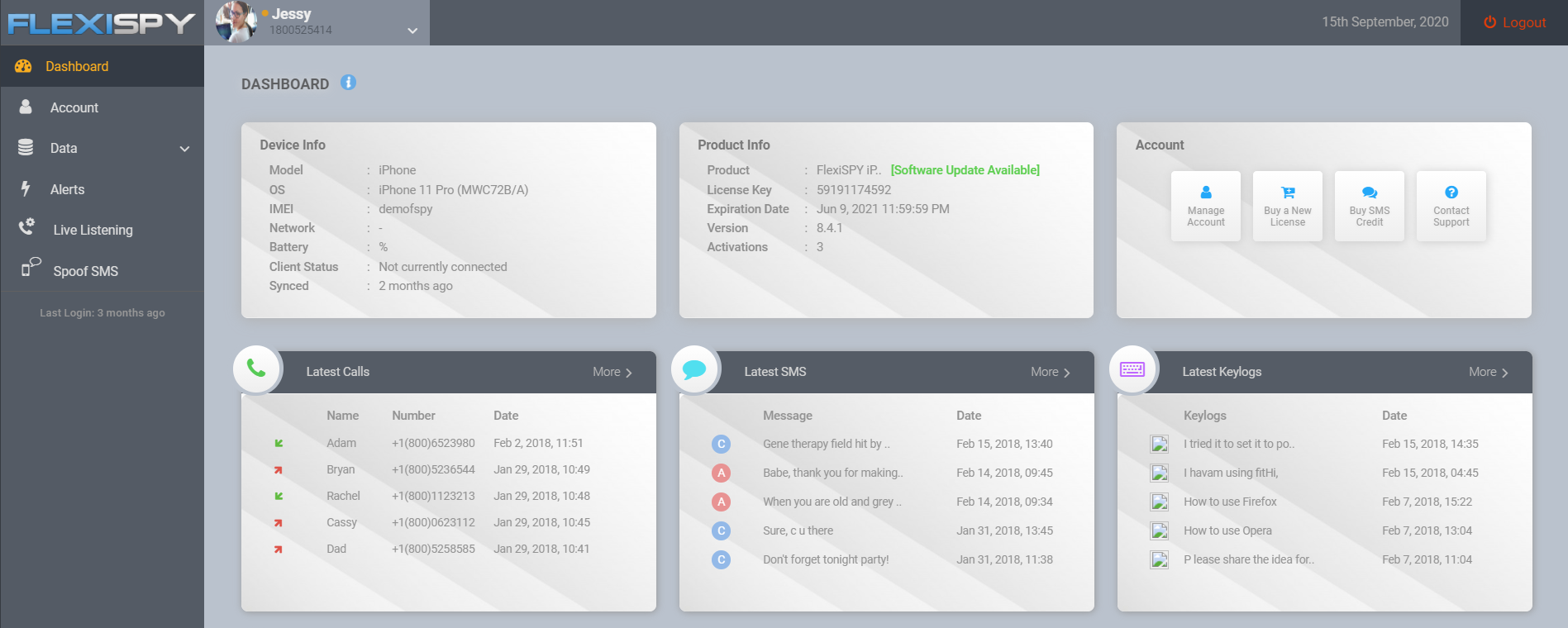 FlexiSPY demo interface