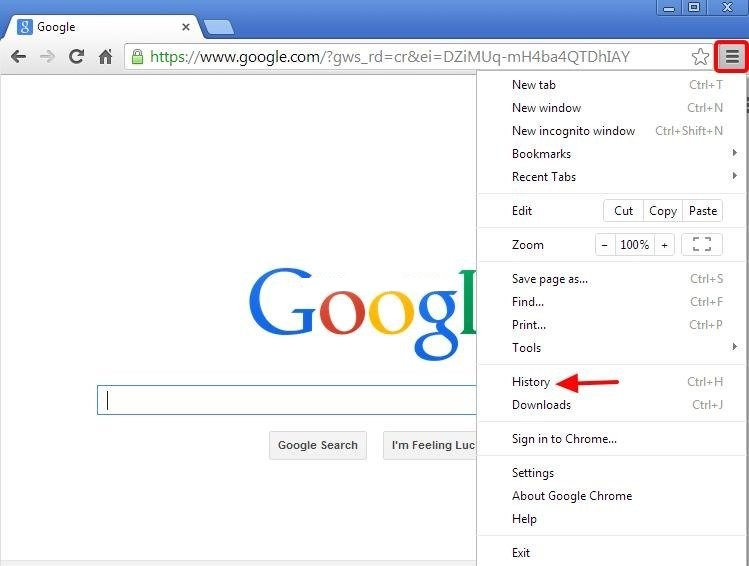 Check the Browsing History on Android in Google Chrome browser