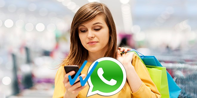Woman shopping and WhatsApp icon